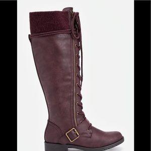Knee high burgundy boots